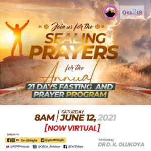 Annual Gen218 Singles 21 Days Prayer & Fasting June 12, 2021 Ministering Dr D. K. Olukoya
